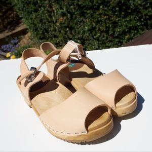 MIA Anja Sweden Nude Leather Clogs Sandal